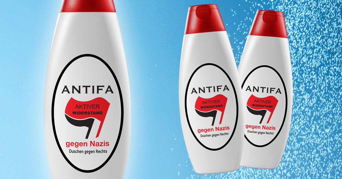 Noktara - Antifa- Widerstand gegen Nazis jetzt als demokratisierendes Duschgel - Nahaufnahme - Alerta alerta Antifascista-Update