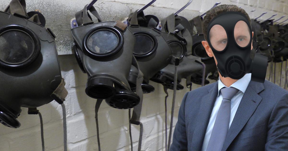 """Assad mit Schutzmaske: """"Nein, ich habe kein Giftgas eingesetzt!"""""""