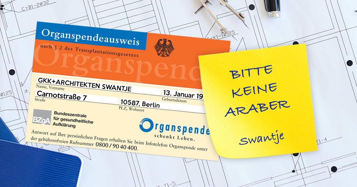 Noktara - Bitte keine Araber-Vermerk auf Organspendeausweis von Architekturbüro