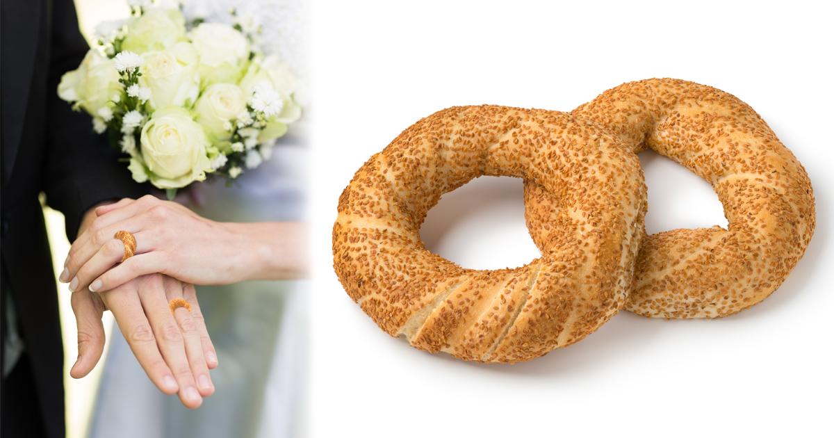 Noktara - Eheringe aus Simit- Türkisches Brautpaar gibt sich Ja-Wort mit Sesam