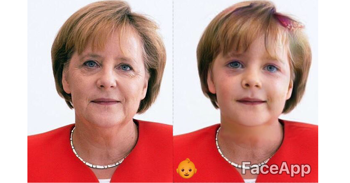 Angela Merkel edited with the face app.