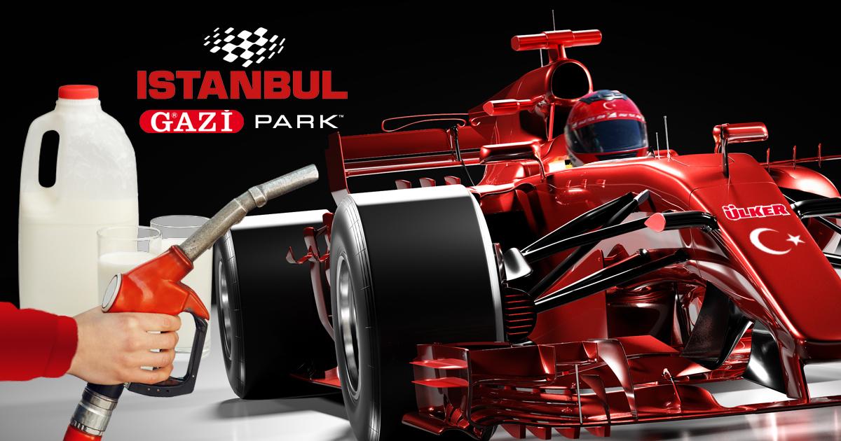 Noktara - Formel 1- Siegerwagen vom großen Preis von Istanbul mit Ayran betankt - Gazi Park Istanbul - Team Ülker