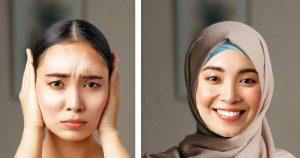 Noktara - Frau kaschiert Segelohren mit einem Kopftuch