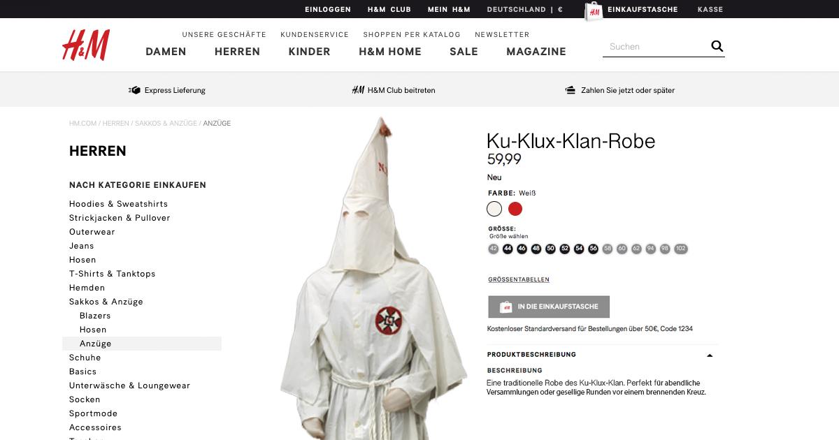 H&M nimmt nach Shitstorm Ku-Klux-Klan-Robe aus dem Sortiment