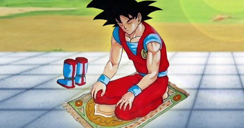 Noktara-Herr-der-Schildkröten-gründet-Moschee-für-Son-Goku-und-seine-Freunde-Son-Goku-als-Muslim-beim-Gebet