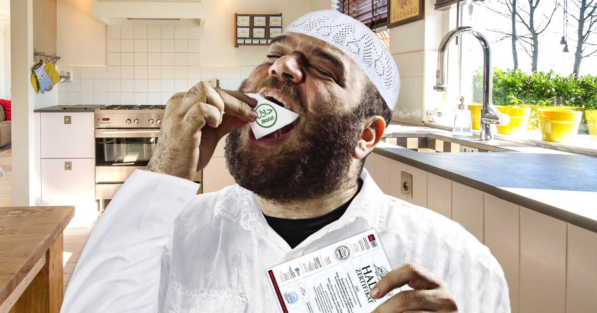 Hungriger Muslim isst HALAL-Zertifikat