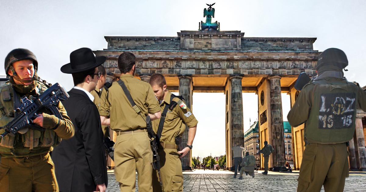 Israelische Grenzsoldaten sichern Existenzrecht am Brandenburger Tor