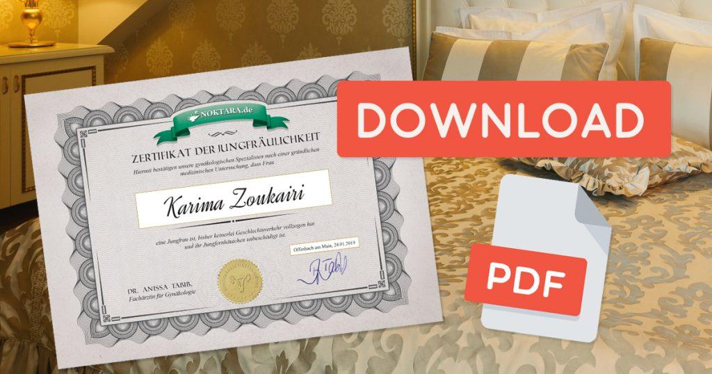 Noktara - Jungfräulichkeits-Zertifikat - Jetzt kostenlos Bescheinigung herunterladen