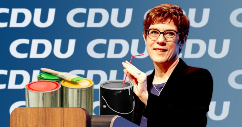 Noktara - Lack gesoffen - Annegret Kramp-Karrenbauer leert mehrere Eimer Farbe