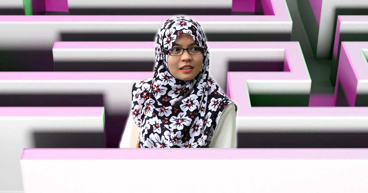 Muslima auf dem Weg zum Frauenbereich verloren gegangen