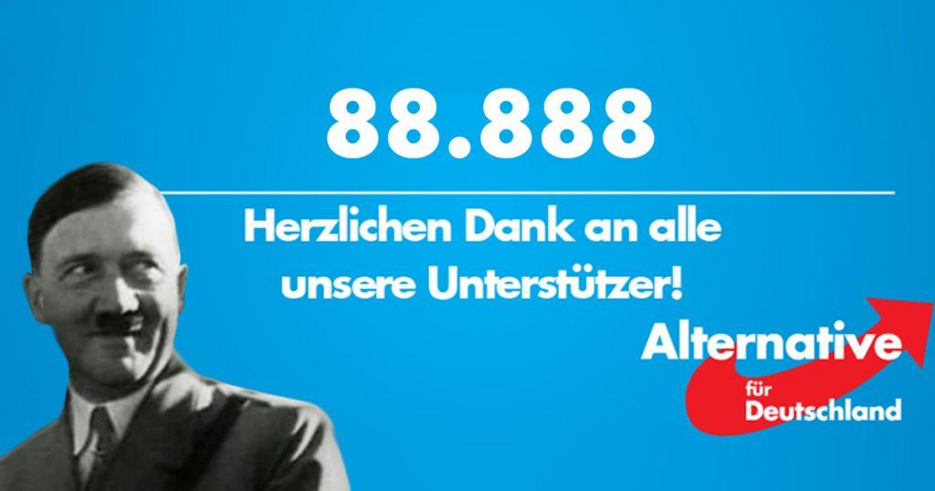 Noktara - Nazi-Zahlen - AfD feiert ausgerechnet 88.888 Likes-Facebook Titelbild