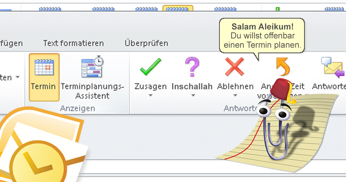 Microsoft Office bringt Inschallah-Knopf für Outlook Termine