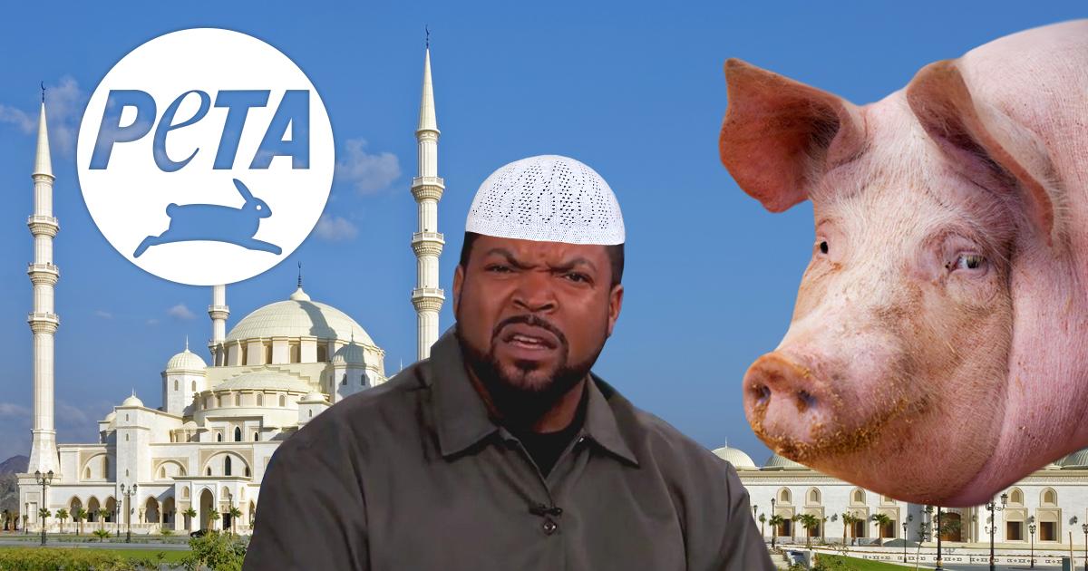 Noktara - PETA demonstriert gegen Schweinsköpfe vor Moschee