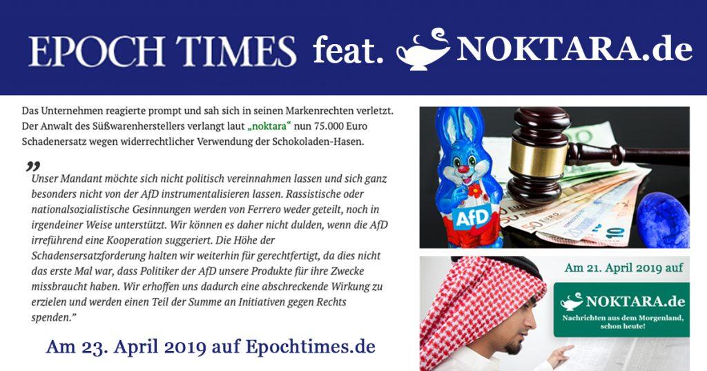 Noktara - Pegida-Gründer Lutz Bachmann schluckt schokoladige Oster-Satire - Epoche Times Zitat