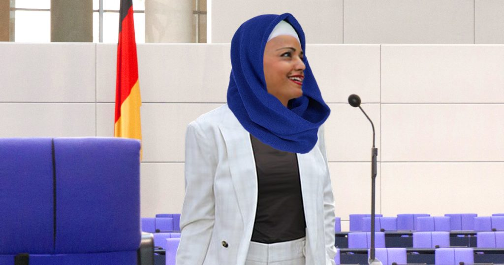 Sawsan Chebli fängt an Kopftuch zu tragen, um graue Haare zu verbergen