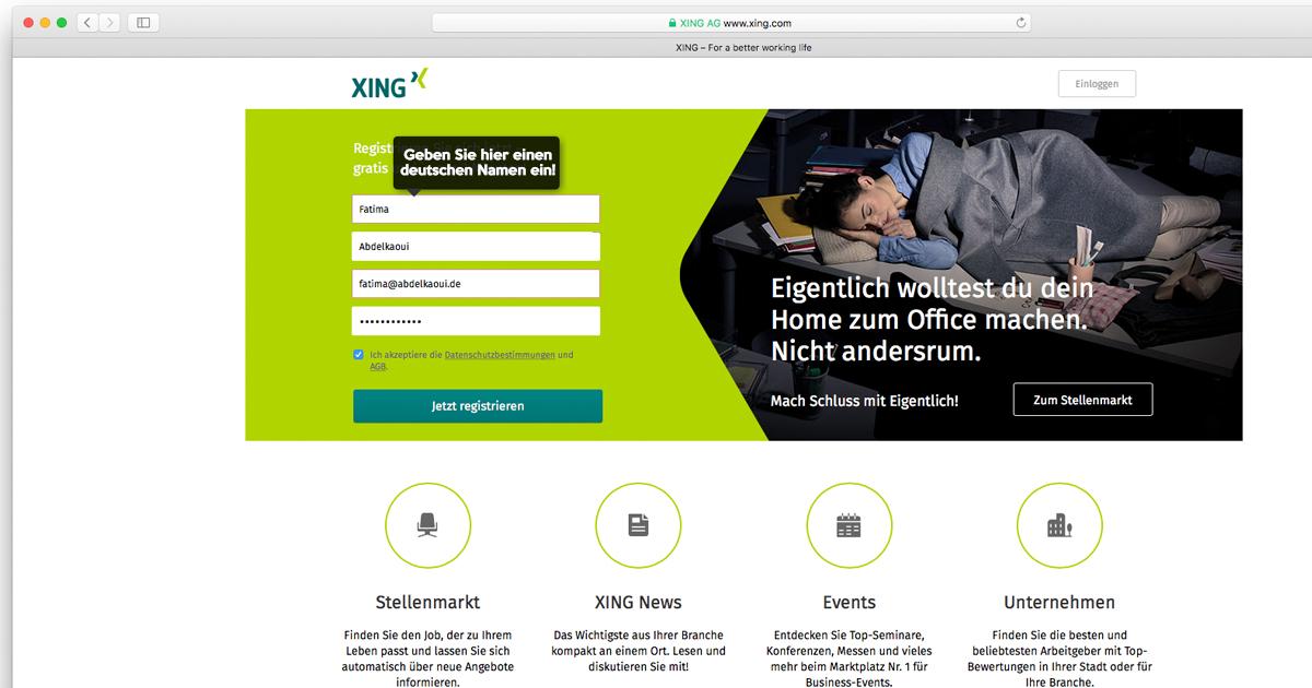 Screenshot von XING.com - Deutscher Name bei der Registrierung erforderlich!