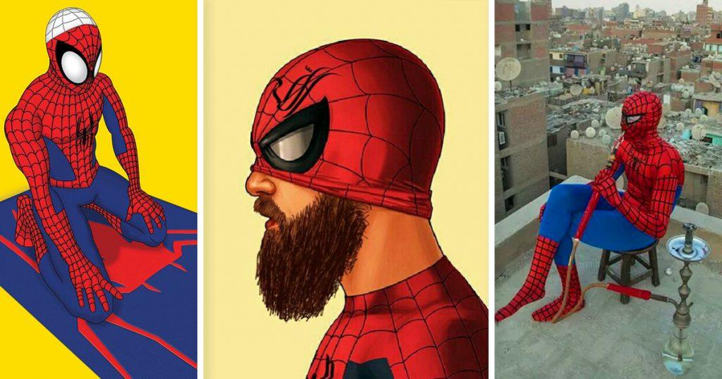Spiderman beim Gebet, mit Bart und beim Shisha dampfen.