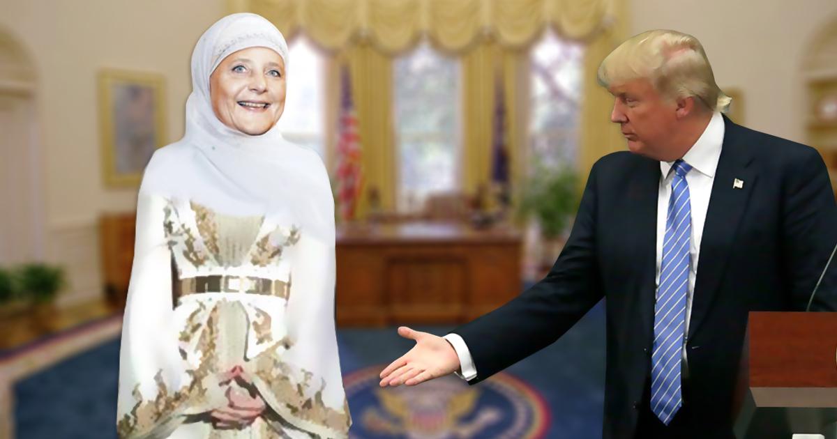 Merkel verweigert aus religiösen Gründen Handschlag mit Trump