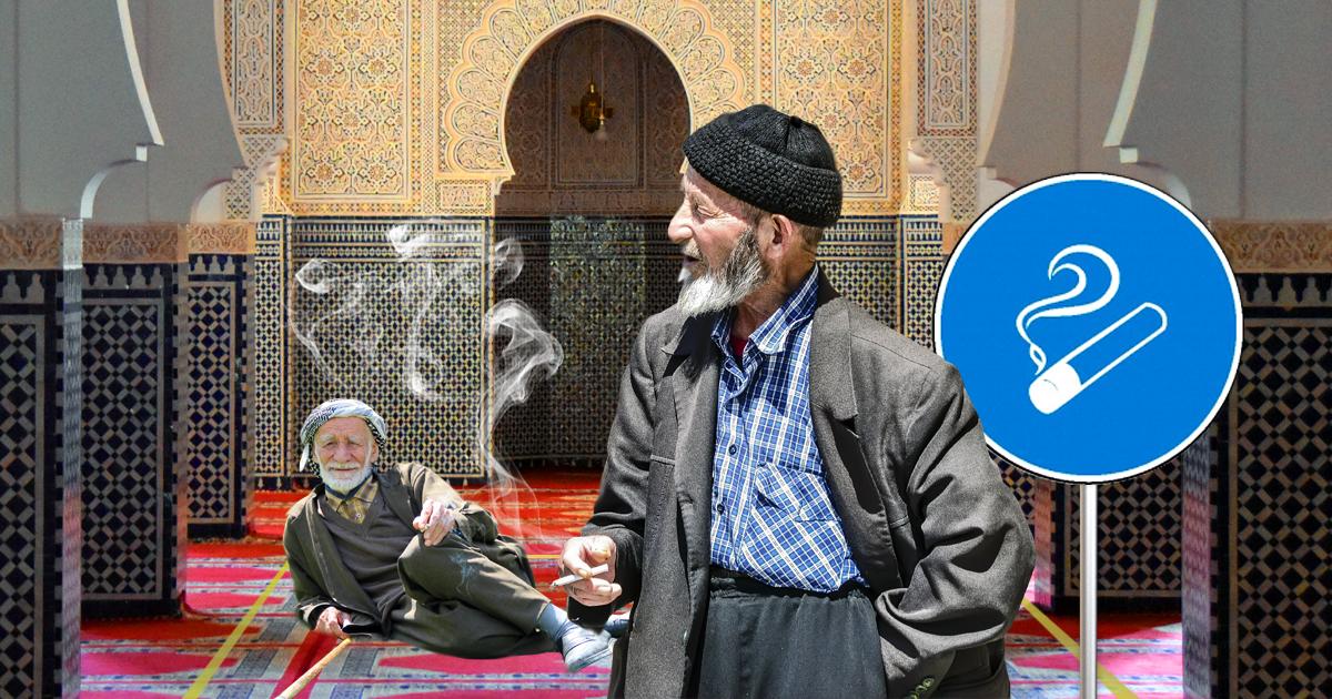 Noktara - Tabakmoschee - Raucherbereich für qualmende Muslime - Ältere Raucher
