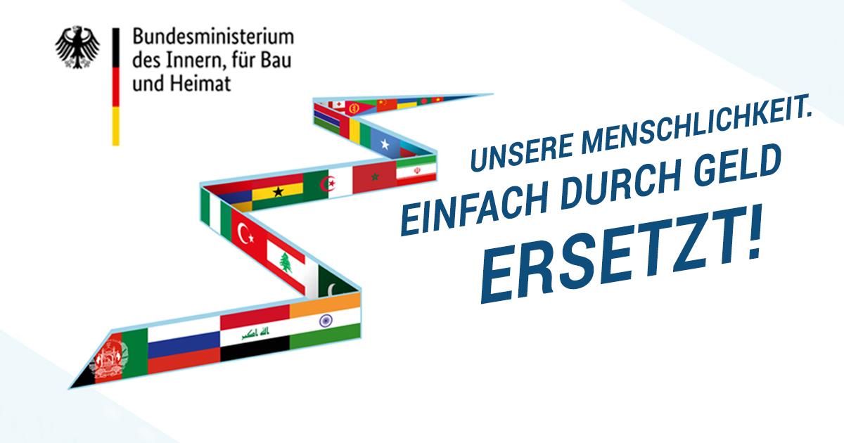 Noktara - Weitere Werbeplakate für eine Freiwillige Rückkehr von Flüchtlingen - Unsere-Menschlichkeit-einfach-durch-Geld-ersetzt