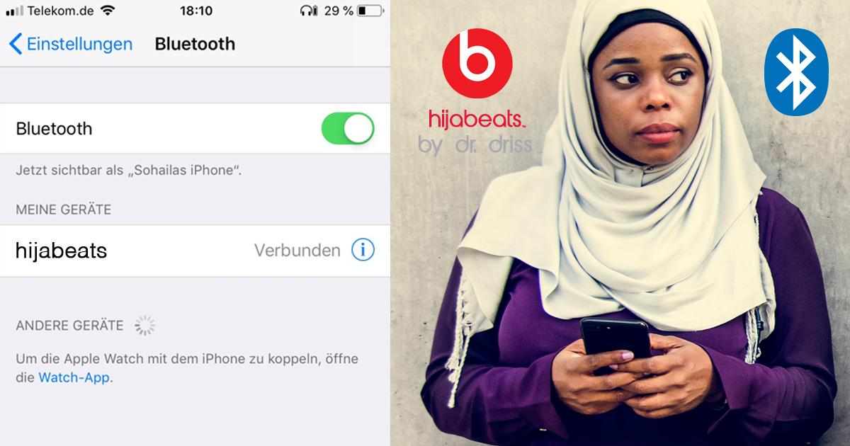 Noktara - hijabeats by dr. driss - Kopftuch mit eingebauten Bluetooth-Kopfhörern - Pairing